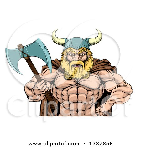 Clipart of a Cartoon Tough Muscular Blond Male Viking Warrior Holding an Axe, from the Waist up - Royalty Free Vector Illustration by AtStockIllustration