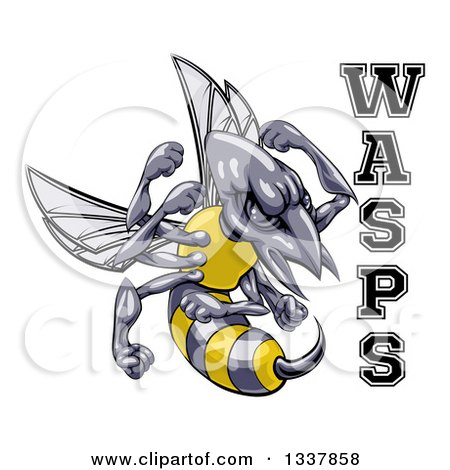 Clipart of a Tough Wasp Sports Team Mascot Holding up Fists by Text - Royalty Free Vector Illustration by AtStockIllustration