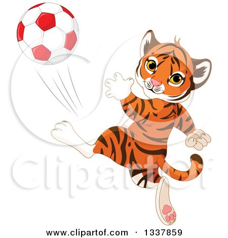 Clipart of a Cute Athletic Tiger Cub Kicking a Soccer Ball - Royalty Free Vector Illustration by Pushkin