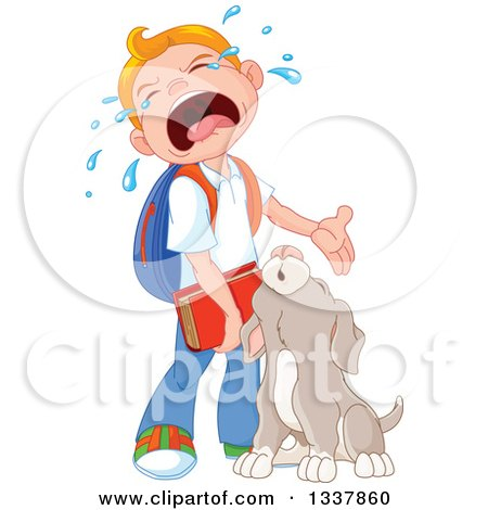 Clipart of a Cartoon Puppy Dog and Caucasian School Boy Crying when He Has to Go Back to School - Royalty Free Vector Illustration by Pushkin