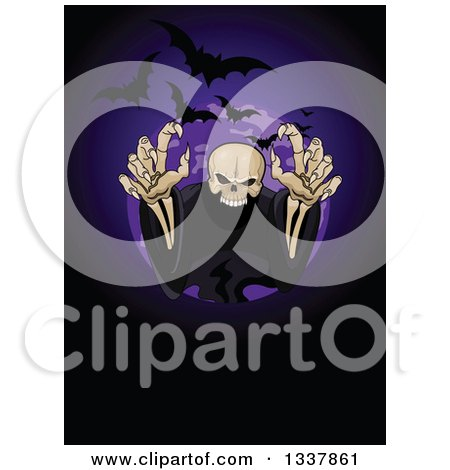 Clipart Of A Creepy Halloween Skeleton Reaching Out Of A Circle With Flying Bats Royalty Free Vector Illustration