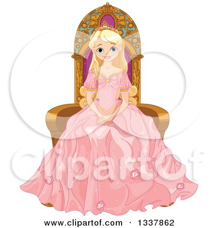 Clipart Of A Beautiful Blond Haired Blue Eyed Caucasian Princess In A Pink Dress Sitting On A Throne Royalty Free Vector Illustration
