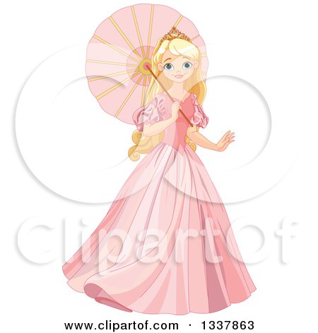 Clipart of a Beautiful Blond Haired Blue Eyed Caucasian Princess in a Pink Dress, Walking with a Parasol - Royalty Free Vector Illustration by Pushkin