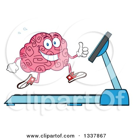 Clipart of a Cartoon Happy Brain Character Running on a Treadmill and Giving a Thumb up - Royalty Free Vector Illustration by Hit Toon