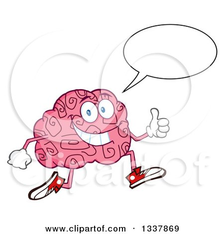 Clipart of a Cartoon Happy Brain Character Talking, Running and Giving a Thumb up - Royalty Free Vector Illustration by Hit Toon