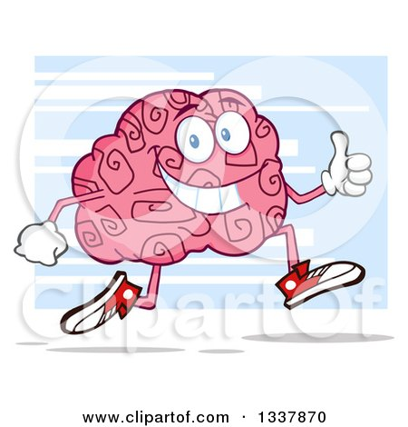 Clipart of a Cartoon Happy Brain Character Running and Giving a Thumb up over Blue - Royalty Free Vector Illustration by Hit Toon