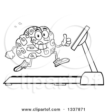 Lineart Clipart of a Cartoon Black and White Happy Brain Character Running on a Treadmill and Giving a Thumb up - Royalty Free Outline Vector Illustration by Hit Toon
