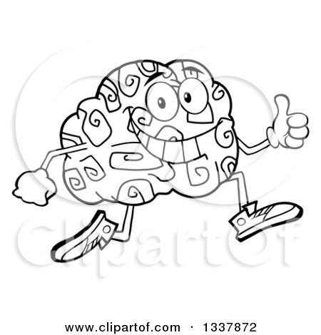 Lineart Clipart of a Cartoon Black and White Happy Brain Character Running and Giving a Thumb up - Royalty Free Outline Vector Illustration by Hit Toon