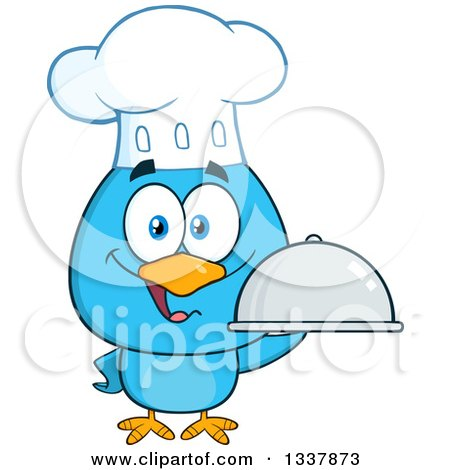 Clipart of a Cartoon Happy Chef Blue Bird Holding a Cloche Platter - Royalty Free Vector Illustration by Hit Toon
