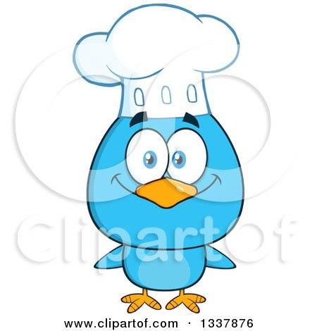 Clipart Of A Cartoon Happy Chef Blue Bird Royalty Free Vector Illustration