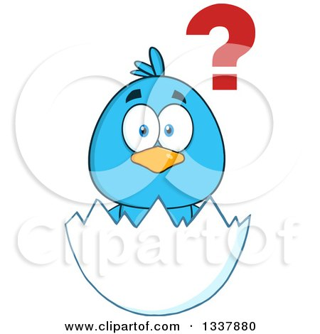 Clipart of a Cartoon Confused Blue Bird in an Egg Shell - Royalty Free Vector Illustration by Hit Toon