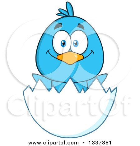 Clipart of a Cartoon Happy Blue Bird in an Egg Shell - Royalty Free Vector Illustration by Hit Toon