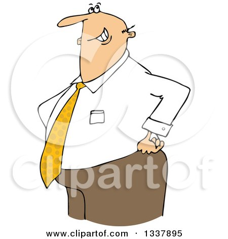 Clipart of a Cartoon Happy Chubby Caucasian Businessman with His Hands on His Hips - Royalty Free Vector Illustration by djart