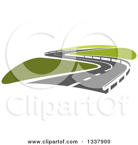 Clipart of a Curvy Road with Barriers and Green Grass - Royalty Free Vector Illustration by Vector Tradition SM