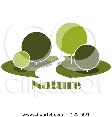 Clipart of a Curvy Road or Path Through a Park with Round Green Trees over Nature Text - Royalty Free Vector Illustration by Vector Tradition SM