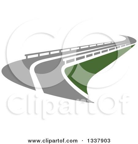 Clipart of a Curvy Road with Barriers - Royalty Free Vector Illustration by Vector Tradition SM