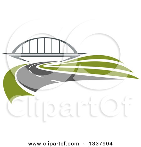 Clipart of a Curving Two Lane Road Leading to a Bridge - Royalty Free Vector Illustration by Vector Tradition SM