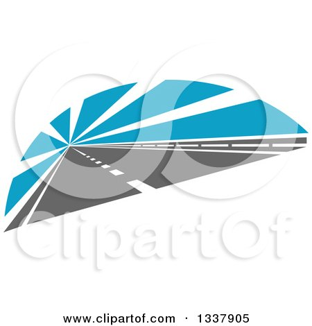 Clipart of a Two Lane Road with Blue Rays - Royalty Free Vector Illustration by Vector Tradition SM