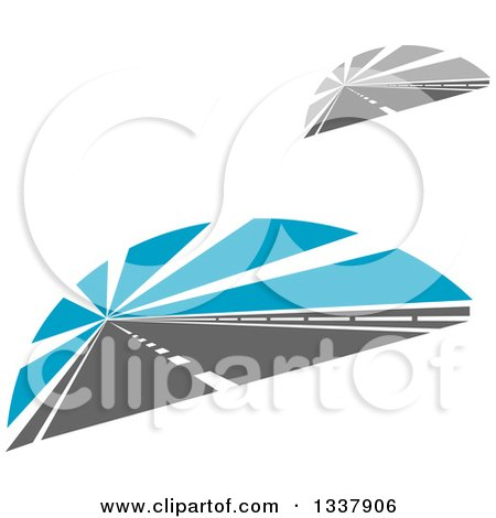 Clipart of Two Lane Roads with Rays - Royalty Free Vector Illustration by Vector Tradition SM