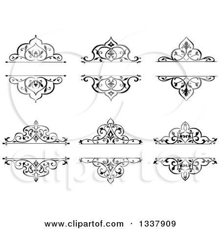 Clipart of Black and White Ornate Vintage Floral Frame Design Elements with Text Space - Royalty Free Vector Illustration by Vector Tradition SM