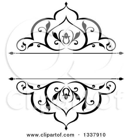 Clipart of a Black and White Ornate Vintage Floral Frame Design Element with Text Space - Royalty Free Vector Illustration by Vector Tradition SM