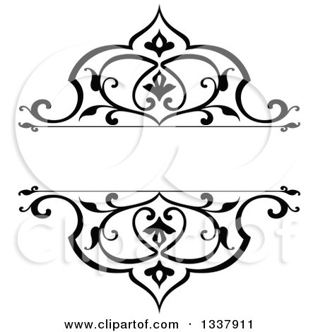 Clipart of a Black and White Ornate Vintage Floral Frame Design Element with Text Space 2 - Royalty Free Vector Illustration by Vector Tradition SM