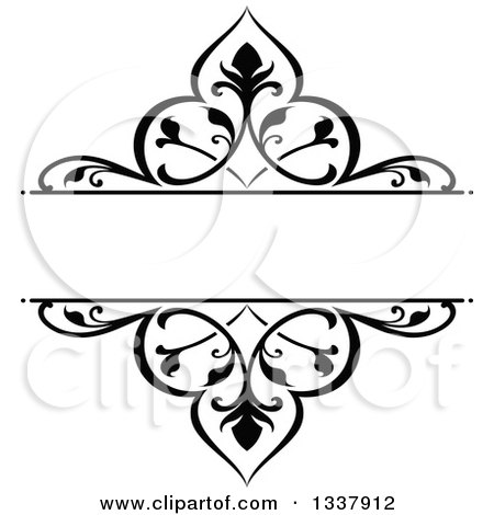 Clipart Of A Black And White Ornate Vintage Floral Frame Design Element With Text Space 3