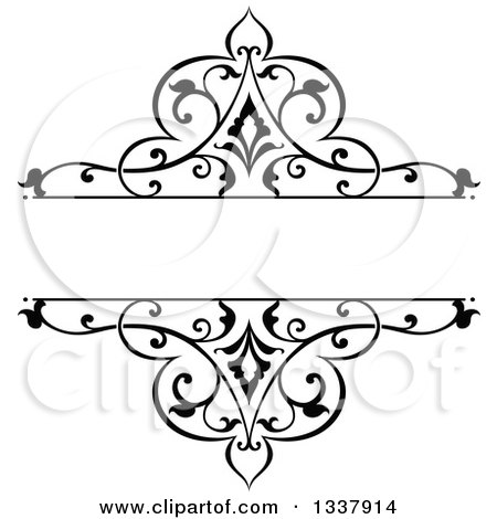 Clipart Of A Black And White Ornate Vintage Floral Frame Design Element With Text Space 5