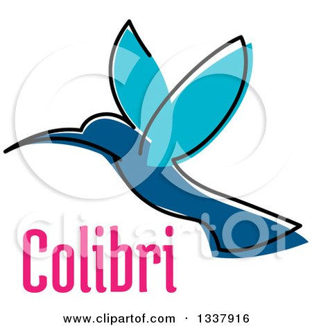 Clipart of a Sketched Blue Hummingbird and Pink Colibri Text - Royalty Free Vector Illustration by Vector Tradition SM