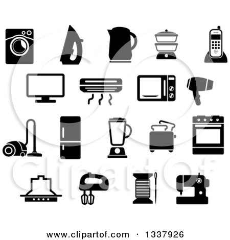 Clipart of Black and White Household Items - Royalty Free Vector Illustration by Vector Tradition SM