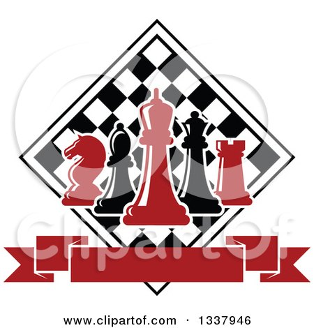 Clipart of Red and Black Chess Pieces Against a Checker Board Above a Blank Banner - Royalty Free Vector Illustration by Vector Tradition SM