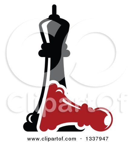 Clipart of a Black Chess Queen over a Fallen Red Pawn - Royalty Free Vector Illustration by Vector Tradition SM