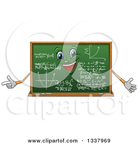 Clipart of a Cartoon Chalkboard Character with Math Formulas - Royalty Free Vector Illustration by Vector Tradition SM
