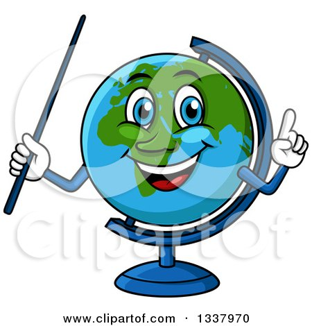 Clipart of a Cartoon Desk Globe Character Holding up a Finger and a Pointer Stick - Royalty Free Vector Illustration by Vector Tradition SM