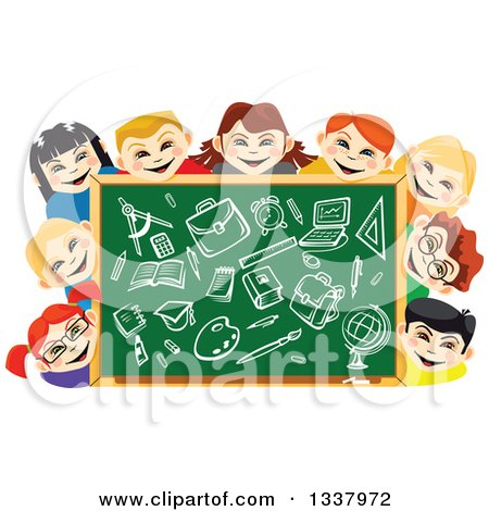 Clipart of a Cartoon Chalkboard and Happy School Children with Supplies Drawn - Royalty Free Vector Illustration by Vector Tradition SM