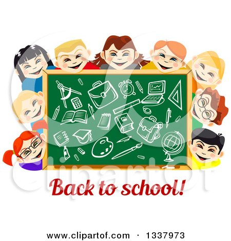 Clipart of a Cartoon Chalkboard and Happy School Children with Supplies Drawn over Text - Royalty Free Vector Illustration by Vector Tradition SM