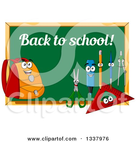 Clipart of a Cartoon Chalkboard with Back to School Text and Supply Characters - Royalty Free Vector Illustration by Vector Tradition SM