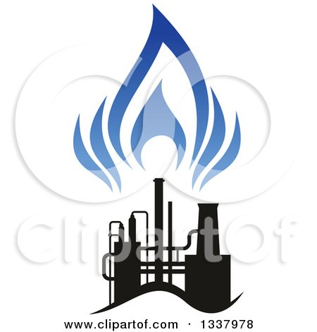 Clipart of a Black and Blue Natural Gas and Flame Design 20 - Royalty Free Vector Illustration by Vector Tradition SM