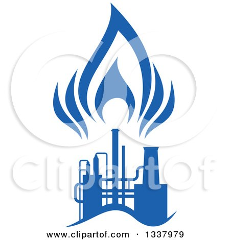 Clipart of a Silhouetted Blue Natural Gas and Flame ...