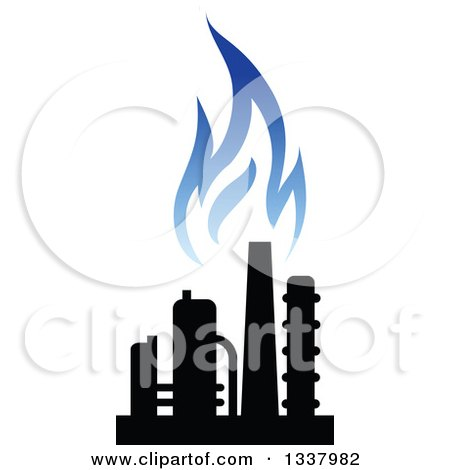 Clipart of a Black and Blue Natural Gas and Flame Design 18 - Royalty Free Vector Illustration by Vector Tradition SM