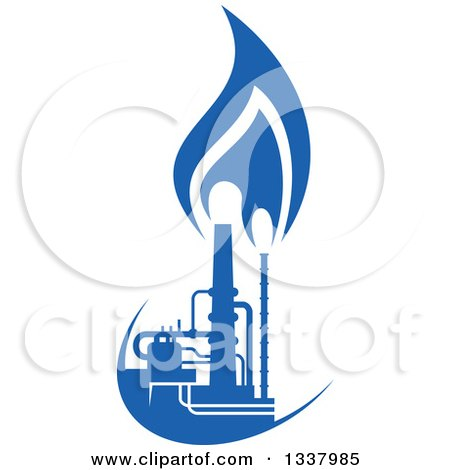 Clipart of a Silhouetted Blue Natural Gas and Flame Factory 2 - Royalty Free Vector Illustration by Vector Tradition SM
