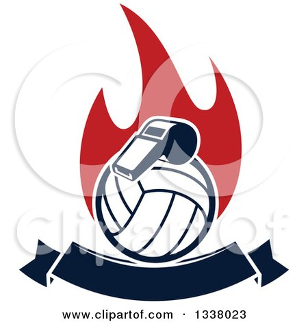 Clipart of a Navy Blue Volleyball and Whistle over Red Flames and a Blank Banner - Royalty Free Vector Illustration by Vector Tradition SM