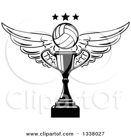 Clipart of a Black and White Winged Volleyball and Stars over a Trophy Cup - Royalty Free Vector Illustration by Vector Tradition SM