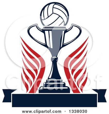 Clipart of a Volleyball over a Trophy Cup, Wings and a Blank Banner - Royalty Free Vector Illustration by Vector Tradition SM