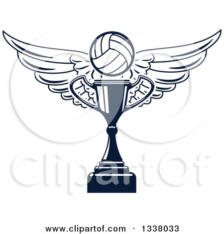 Clipart of a Navy Blue Winged Volleyball over a Trophy Cup - Royalty Free Vector Illustration by Vector Tradition SM