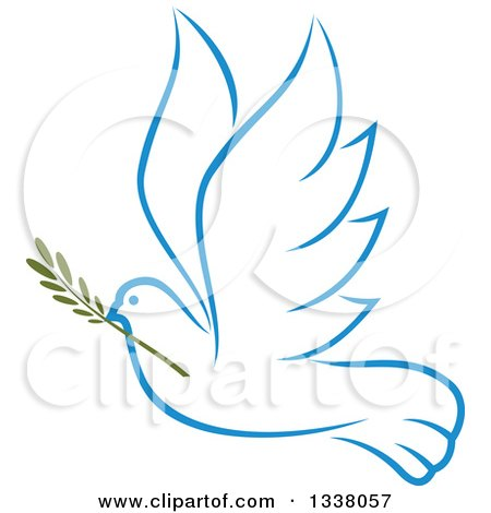 Clipart of a Sketched Light Blue Flying Peace Dove with a Branch 3 - Royalty Free Vector Illustration by Vector Tradition SM