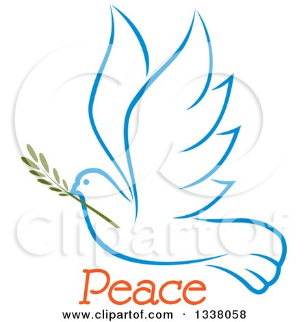 Clipart of a Sketched Light Blue Flying Peace Dove with a Branch and Text 3 - Royalty Free Vector Illustration by Vector Tradition SM