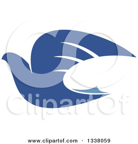 Clipart of a Blue Flying Peace Dove 2 - Royalty Free Vector Illustration by Vector Tradition SM