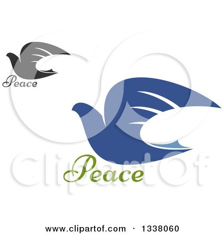 Clipart of Blue and Dark Gray Flying Doves - Royalty Free Vector Illustration by Vector Tradition SM