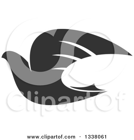 Clipart of a Dark Gray Flying Dove - Royalty Free Vector Illustration by Vector Tradition SM